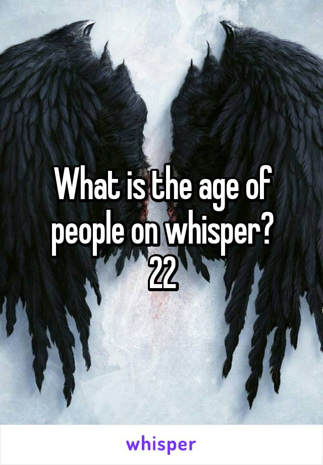 What is the age of people on whisper? 22