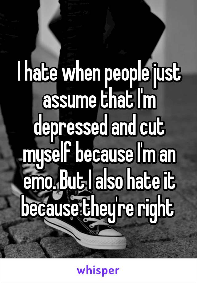 I hate when people just assume that I'm depressed and cut myself because I'm an emo. But I also hate it because they're right