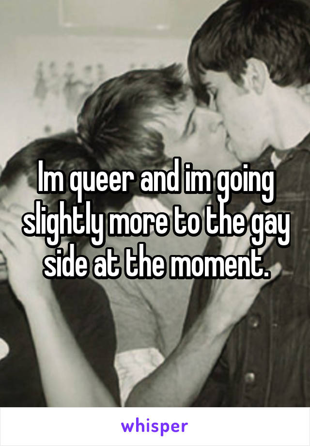 Im queer and im going slightly more to the gay side at the moment.