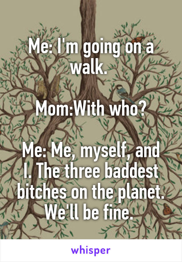 Me: I'm going on a walk.   Mom:With who?  Me: Me, myself, and I. The three baddest bitches on the planet. We'll be fine.