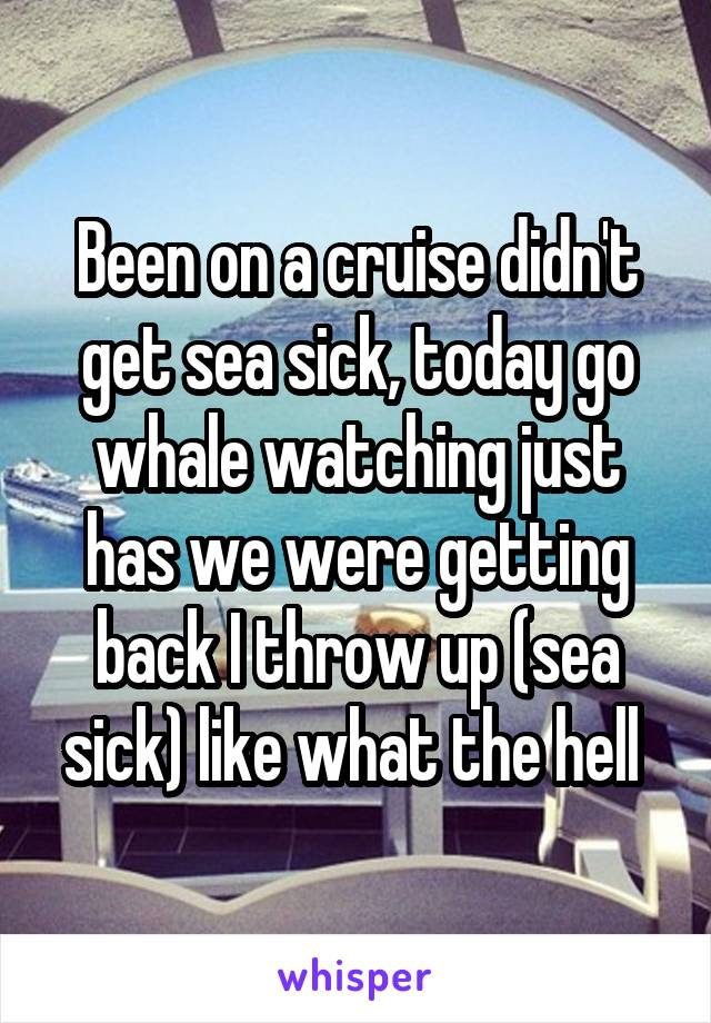 Been on a cruise didn't get sea sick, today go whale watching just has we were getting back I throw up (sea sick) like what the hell