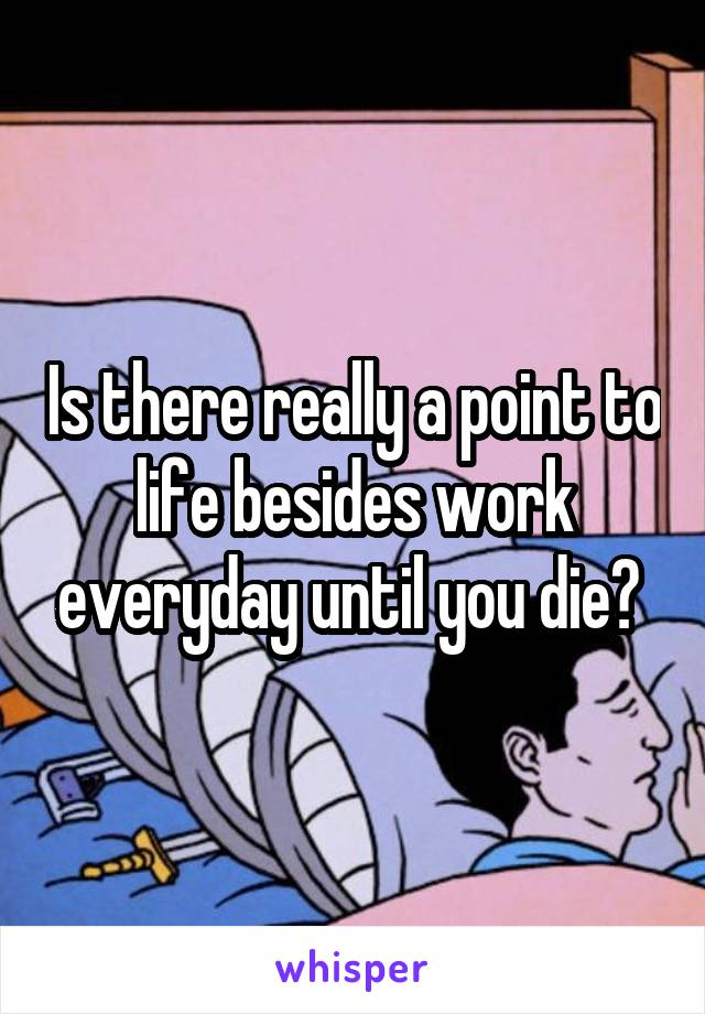 Is there really a point to life besides work everyday until you die?