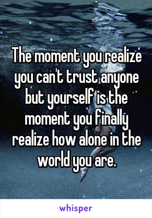 The moment you realize you can't trust anyone but yourself is the moment you finally realize how alone in the world you are.
