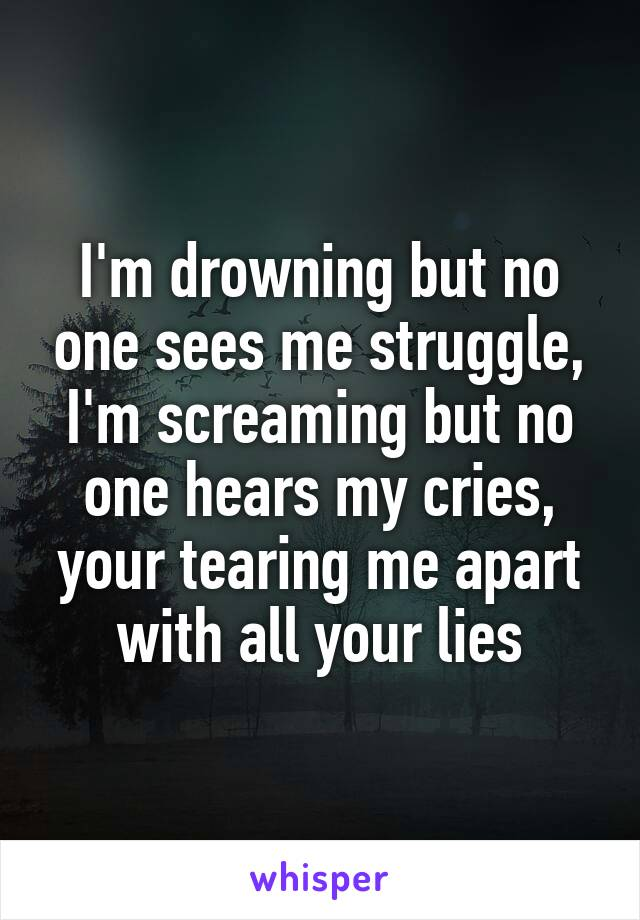 I'm drowning but no one sees me struggle, I'm screaming but no one hears my cries, your tearing me apart with all your lies