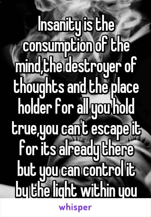 Insanity is the consumption of the mind,the destroyer of thoughts and the place holder for all you hold true,you can't escape it for its already there but you can control it by the light within you