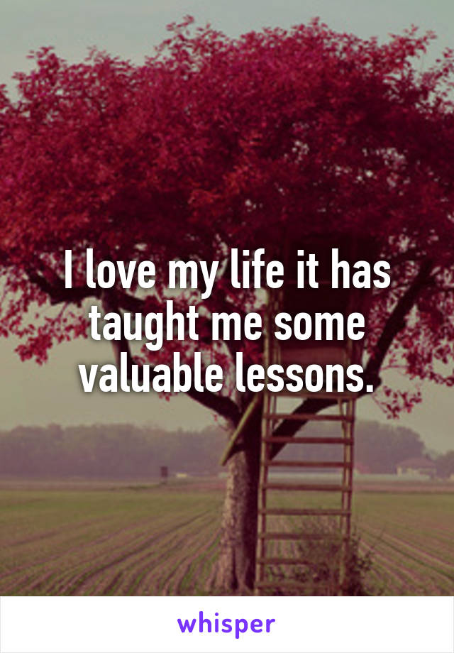 I love my life it has taught me some valuable lessons.