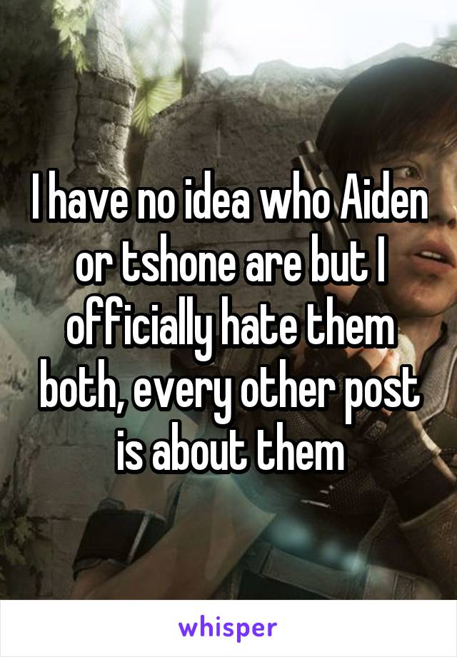 I have no idea who Aiden or tshone are but I officially hate them both, every other post is about them