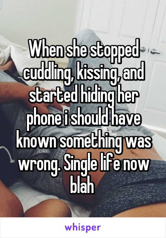 When she stopped cuddling, kissing, and started hiding her phone i should have known something was wrong. Single life now blah