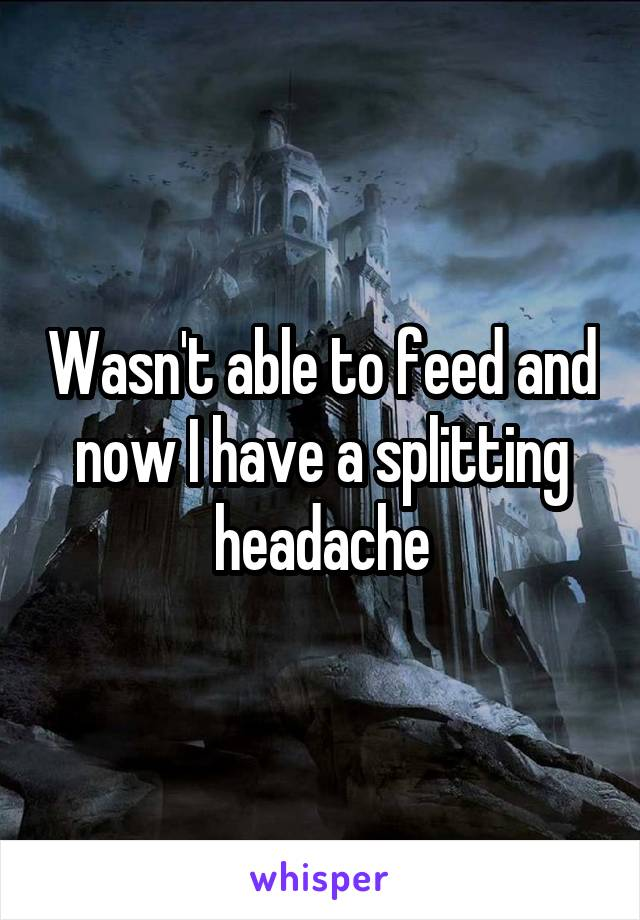 Wasn't able to feed and now I have a splitting headache