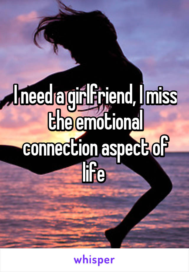I need a girlfriend, I miss the emotional connection aspect of life