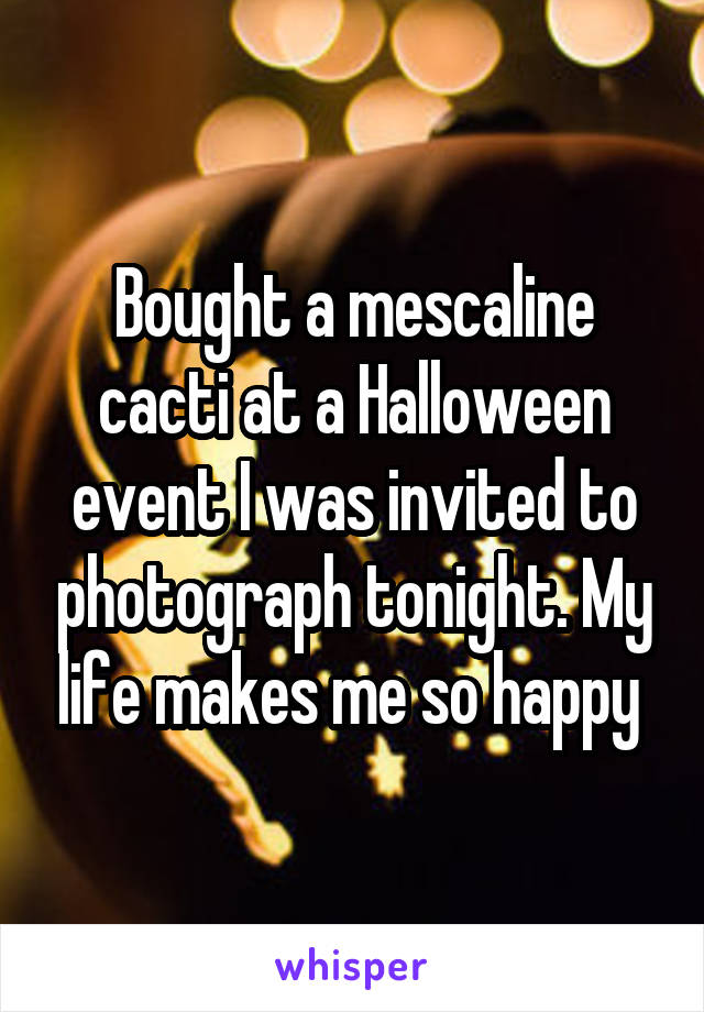 Bought a mescaline cacti at a Halloween event I was invited to photograph tonight. My life makes me so happy