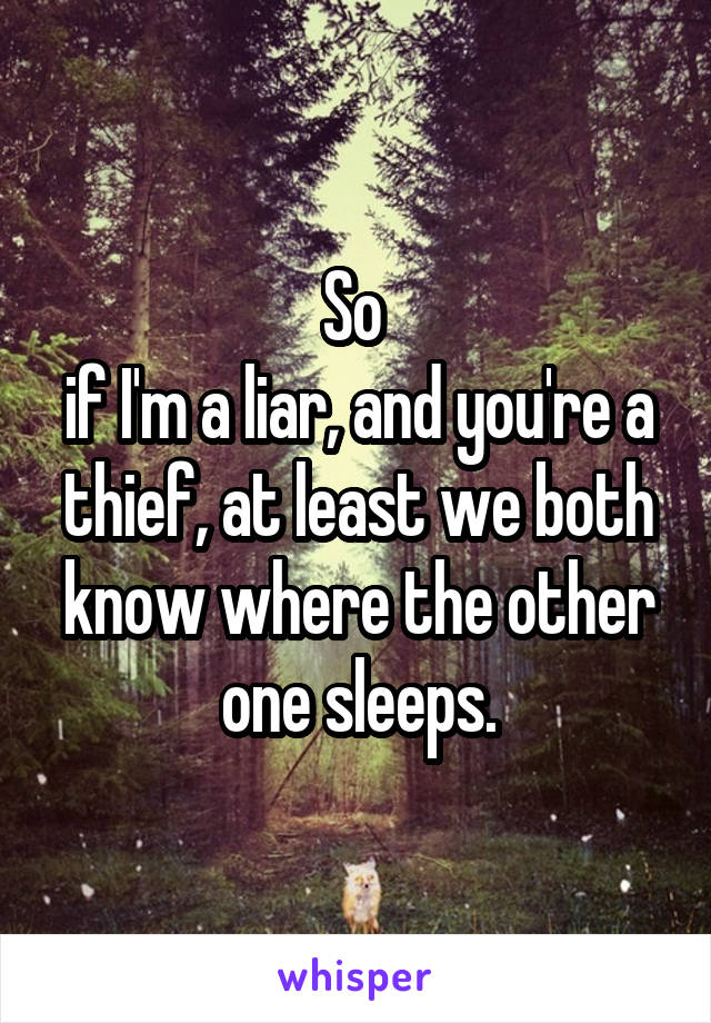 So  if I'm a liar, and you're a thief, at least we both know where the other one sleeps.