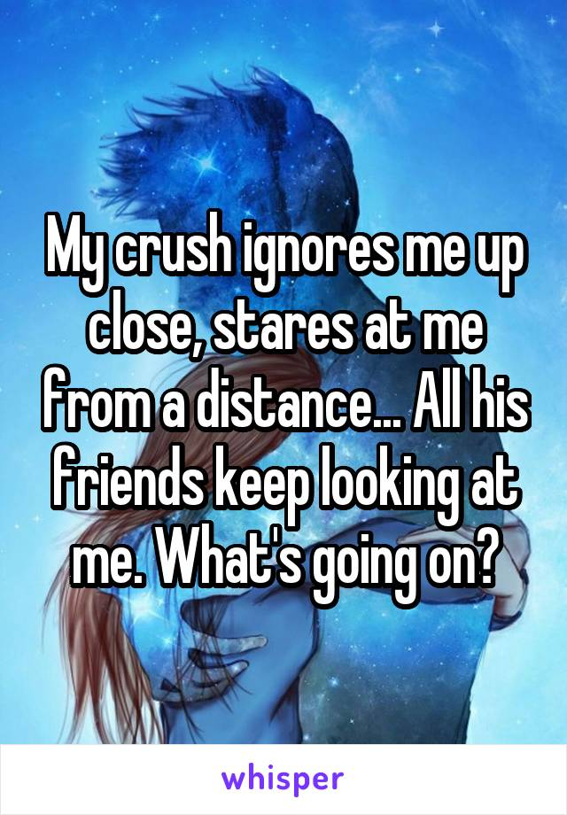 My crush ignores me up close, stares at me from a distance... All his friends keep looking at me. What's going on?