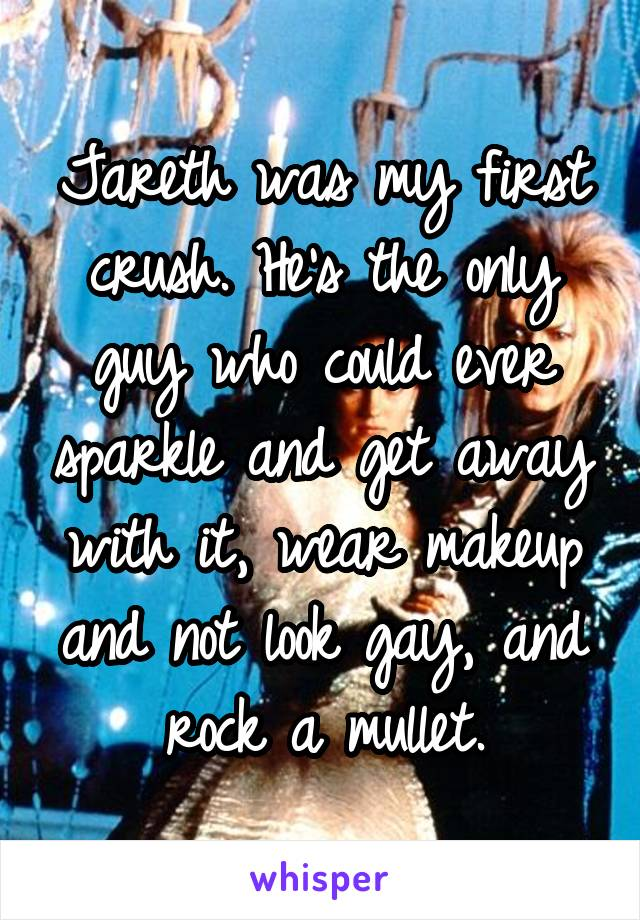 Jareth was my first crush. He's the only guy who could ever sparkle and get away with it, wear makeup and not look gay, and rock a mullet.