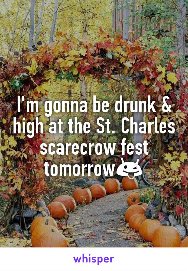 I'm gonna be drunk & high at the St. Charles scarecrow fest tomorrow😜