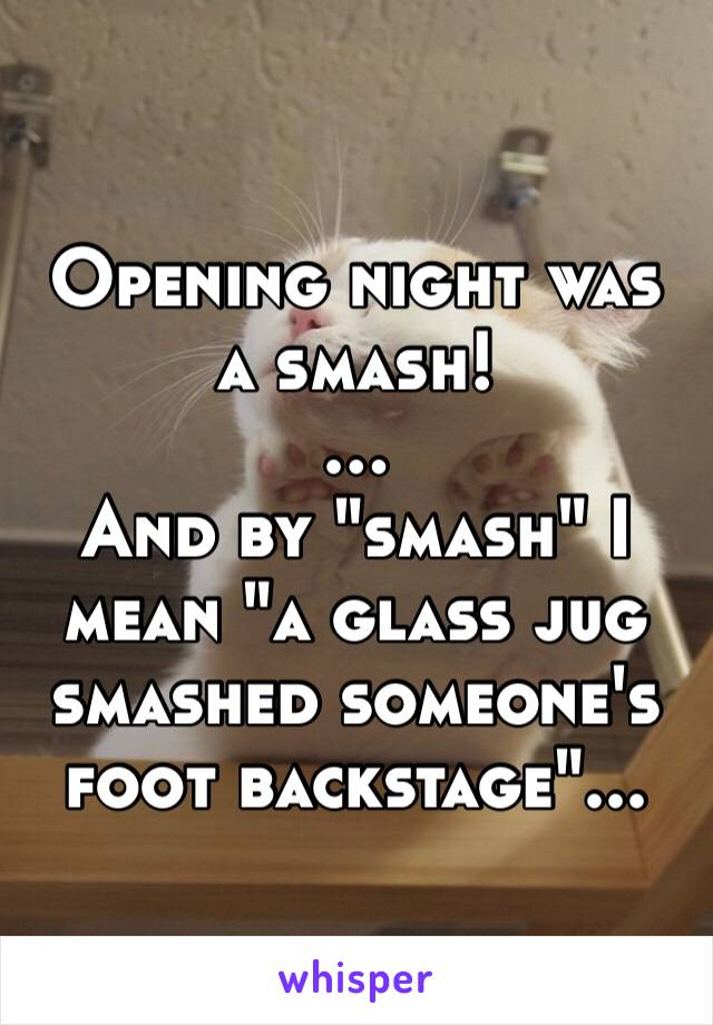 """Opening night was a smash! … And by """"smash"""" I mean """"a glass jug smashed someone's foot backstage""""..."""