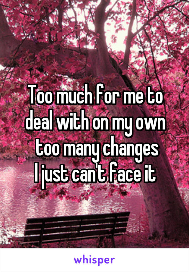 Too much for me to deal with on my own  too many changes  I just can't face it
