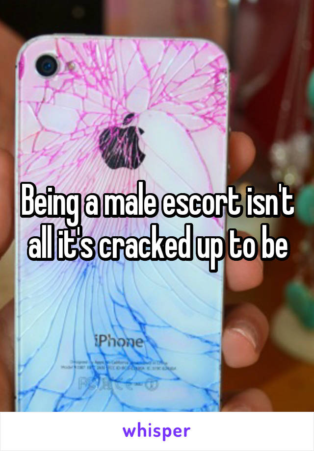 Being a male escort isn't all it's cracked up to be