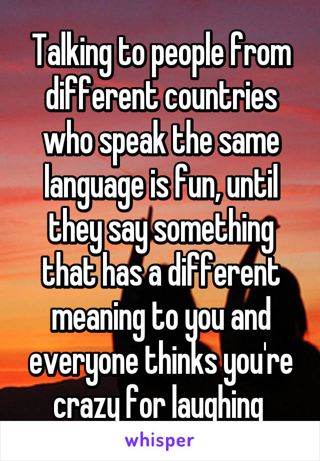 Talking to people from different countries who speak the same language is fun, until they say something that has a different meaning to you and everyone thinks you're crazy for laughing