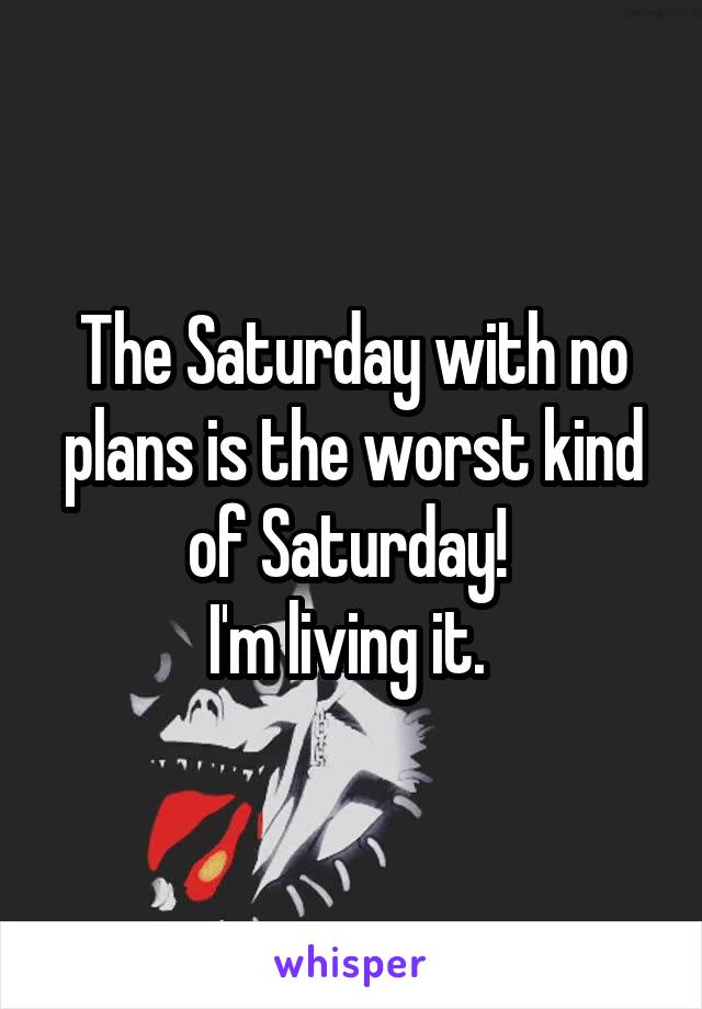The Saturday with no plans is the worst kind of Saturday!  I'm living it.