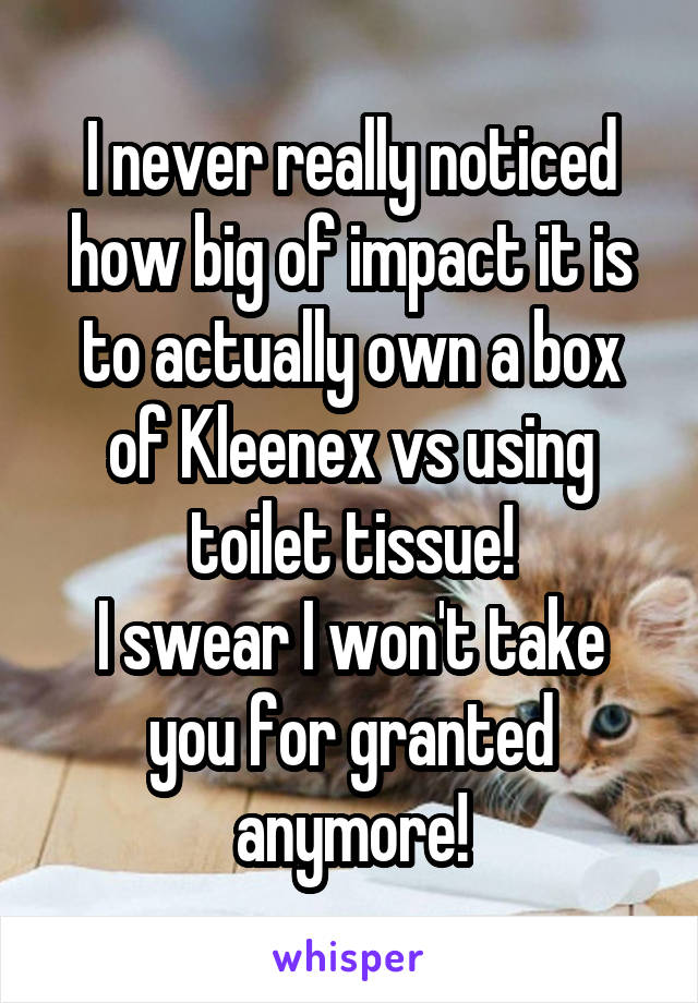 I never really noticed how big of impact it is to actually own a box of Kleenex vs using toilet tissue! I swear I won't take you for granted anymore!