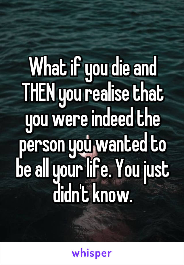 What if you die and THEN you realise that you were indeed the person you wanted to be all your life. You just didn't know.