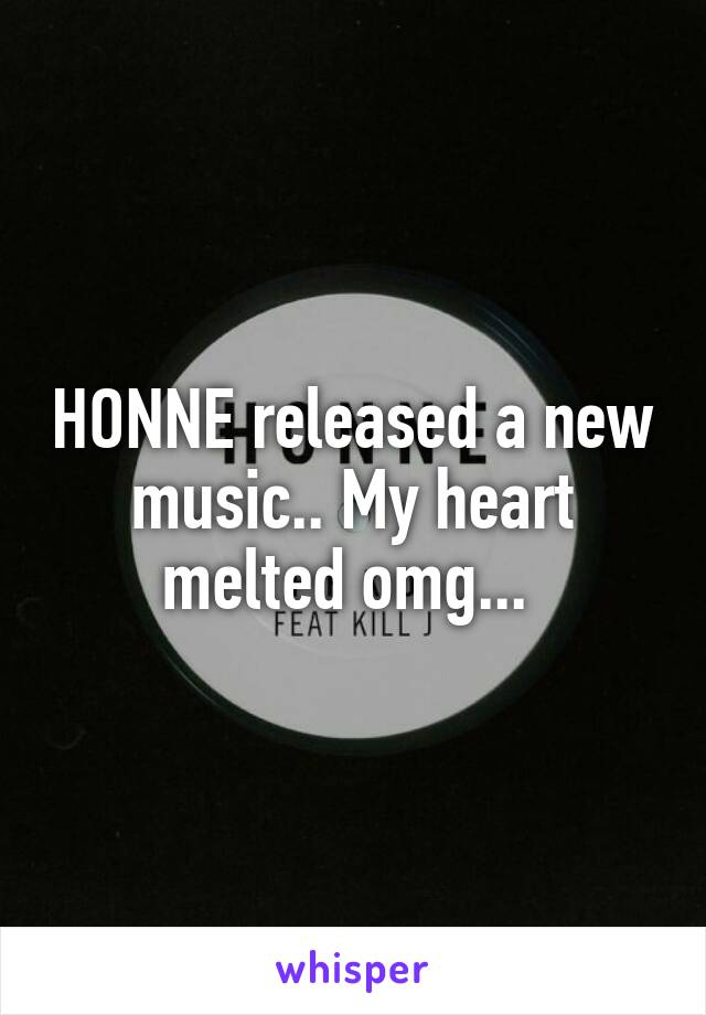 HONNE released a new music.. My heart melted omg...