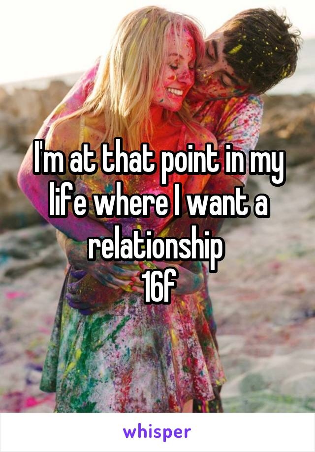 I'm at that point in my life where I want a relationship  16f