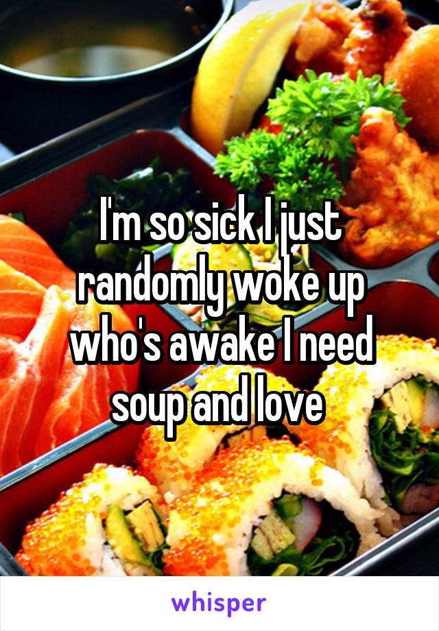 I'm so sick I just randomly woke up who's awake I need soup and love