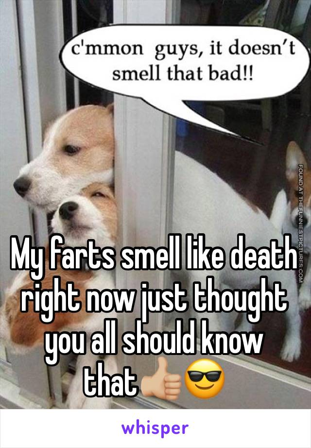 My farts smell like death right now just thought you all should know that👍🏼😎
