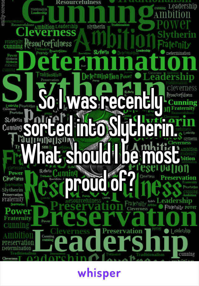 So I was recently sorted into Slytherin. What should I be most proud of?