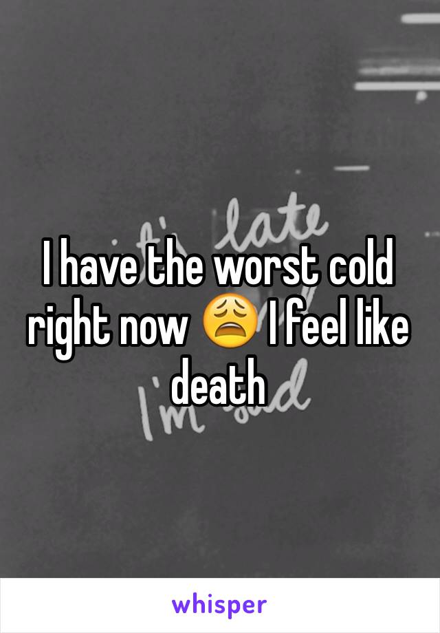 I have the worst cold right now 😩 I feel like death