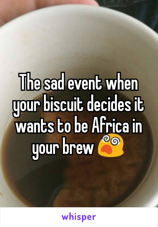 The sad event when your biscuit decides it wants to be Africa in your brew 😵