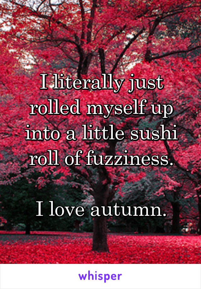 I literally just rolled myself up into a little sushi roll of fuzziness.  I love autumn.