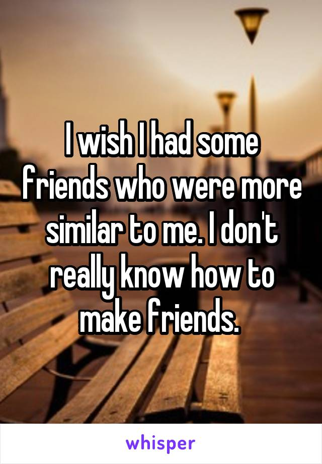 I wish I had some friends who were more similar to me. I don't really know how to make friends.