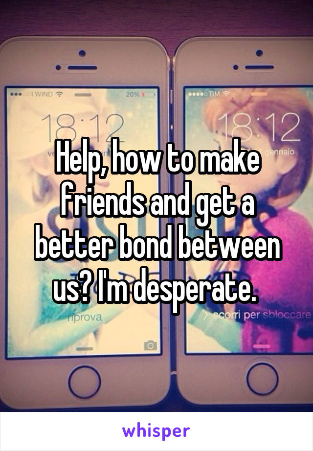 Help, how to make friends and get a better bond between us? I'm desperate.