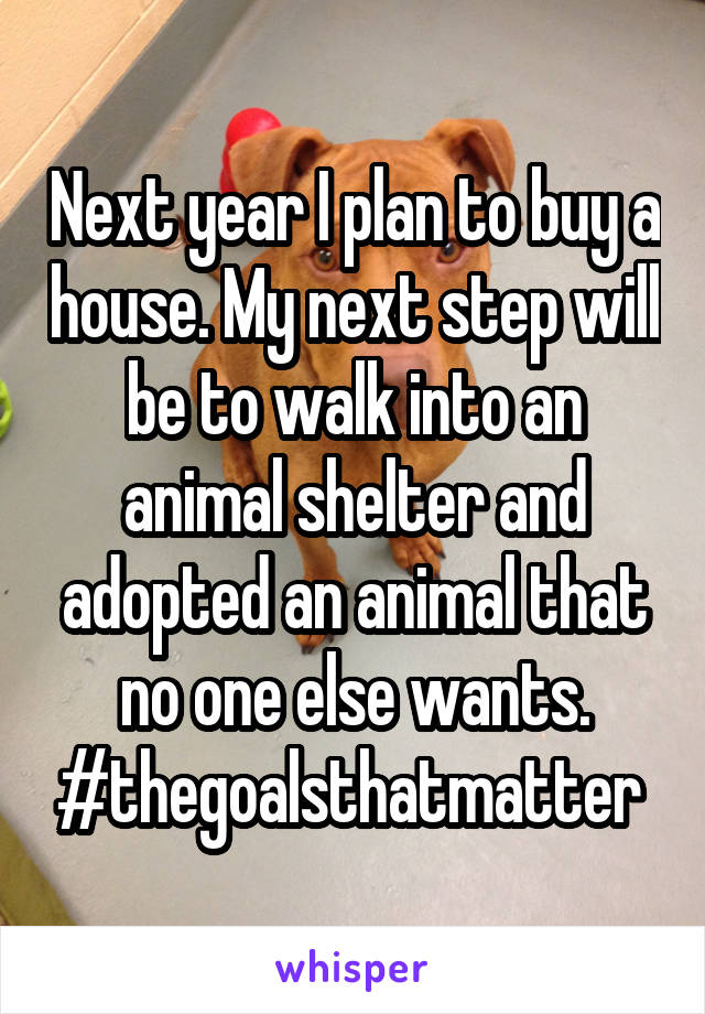 Next year I plan to buy a house. My next step will be to walk into an animal shelter and adopted an animal that no one else wants. #thegoalsthatmatter