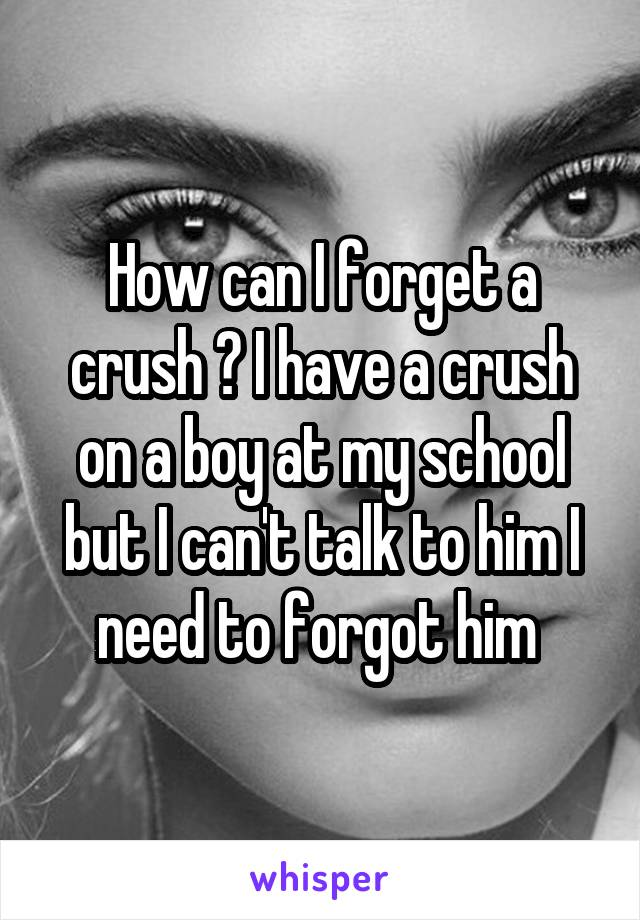 How can I forget a crush ? I have a crush on a boy at my school but I can't talk to him I need to forgot him