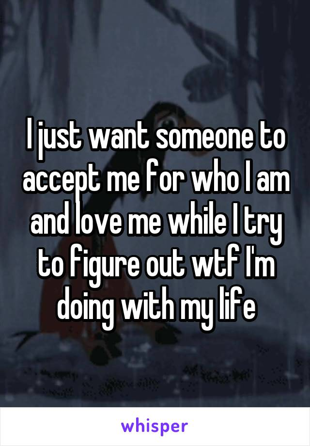 I just want someone to accept me for who I am and love me while I try to figure out wtf I'm doing with my life