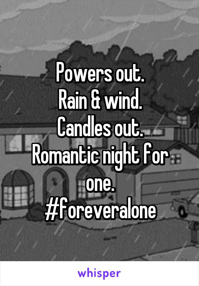 Powers out. Rain & wind. Candles out. Romantic night for one. #foreveralone