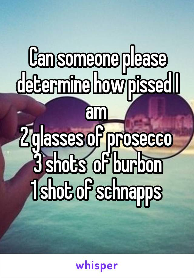 Can someone please determine how pissed I am  2 glasses of prosecco  3 shots  of burbon 1 shot of schnapps
