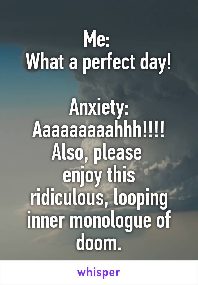 Me:  What a perfect day!  Anxiety: Aaaaaaaaahhh!!!! Also, please  enjoy this ridiculous, looping inner monologue of doom.