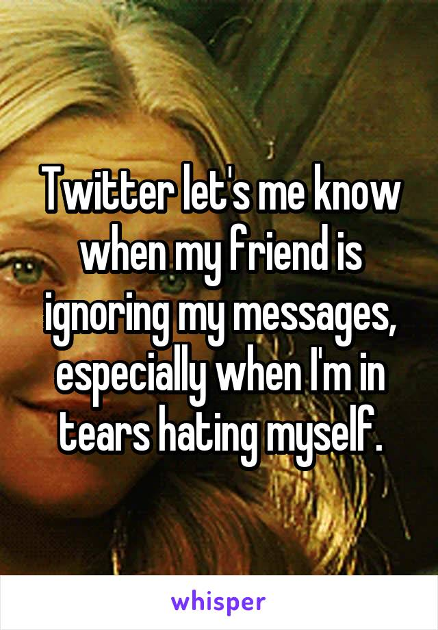 Twitter let's me know when my friend is ignoring my messages, especially when I'm in tears hating myself.