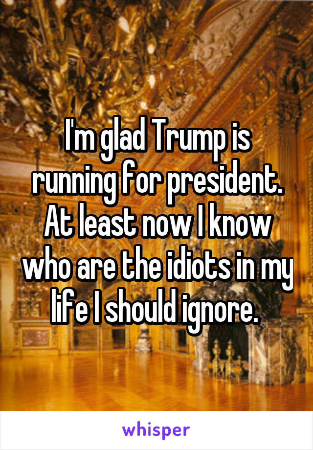I'm glad Trump is running for president. At least now I know who are the idiots in my life I should ignore.