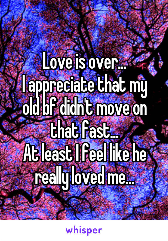 Love is over... I appreciate that my old bf didn't move on that fast... At least I feel like he really loved me...