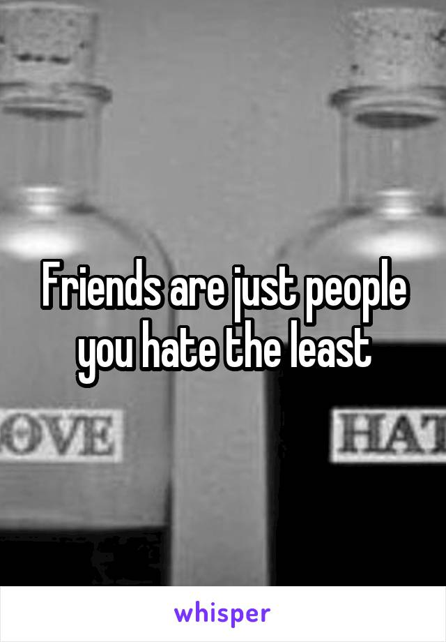 Friends are just people you hate the least