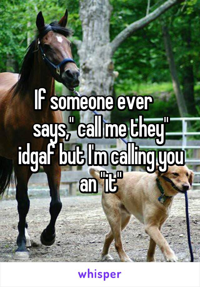 "If someone ever     says,"" call me they"" idgaf but I'm calling you an ""it"""