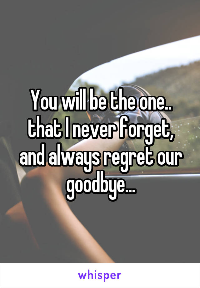 You will be the one.. that I never forget, and always regret our goodbye...