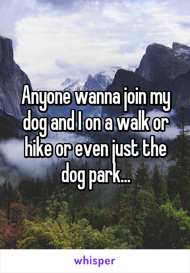 Anyone wanna join my dog and I on a walk or hike or even just the dog park...