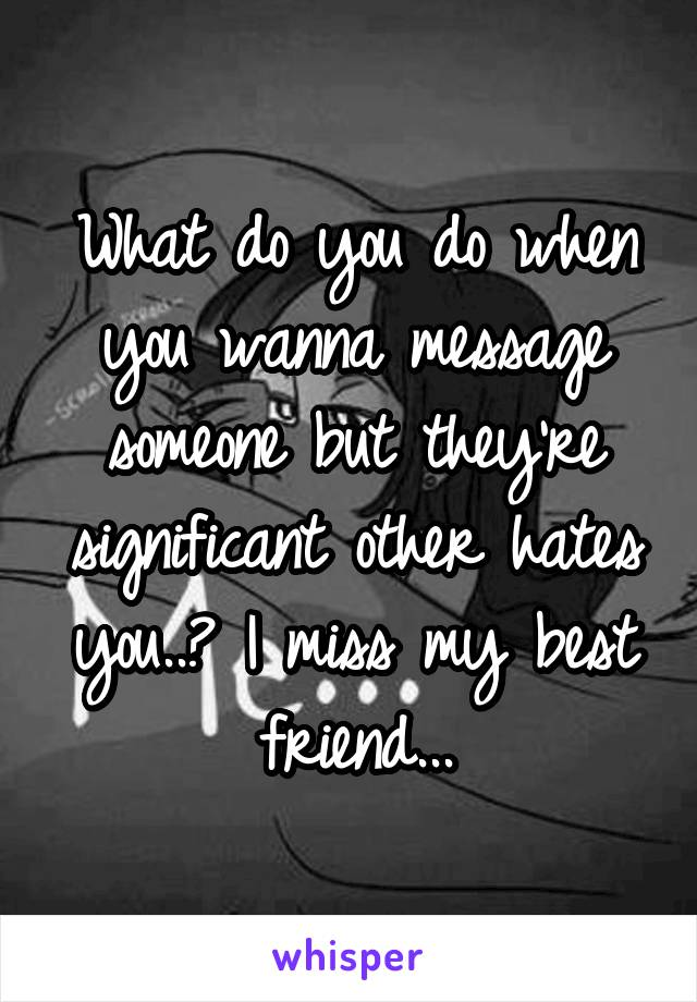 What do you do when you wanna message someone but they're significant other hates you..? I miss my best friend...